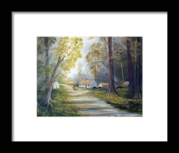 Cottages Framed Print featuring the painting Hidden Village Ireland by Cathal O malley