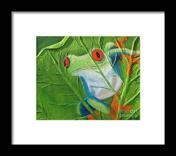 Red Eyed Tree Frog Framed Print featuring the painting Hide and Seek by Darlene Green