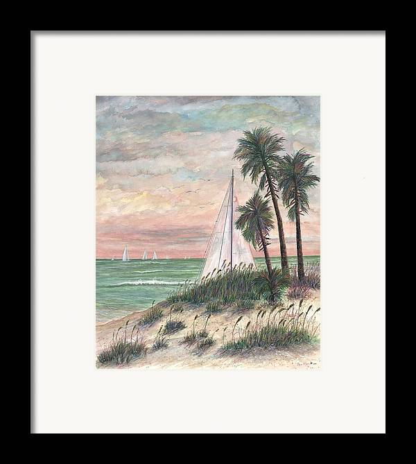 Sailboats; Palm Trees; Ocean; Beach; Sunset Framed Print featuring the painting Hideaway by Ben Kiger