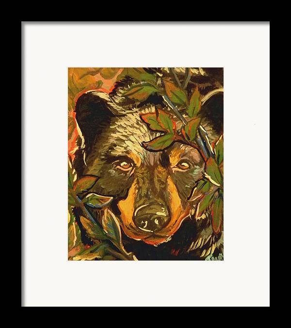Black Bear Framed Print featuring the painting Hiding Bear by Jenn Cunningham