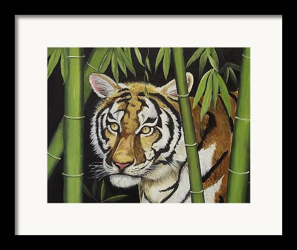 Tiger Framed Print featuring the painting Hiding In The Bamboo by Wanda Dansereau