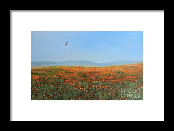 Poppies Framed Print featuring the painting High Desert Poppies by Gina DeRuggiero