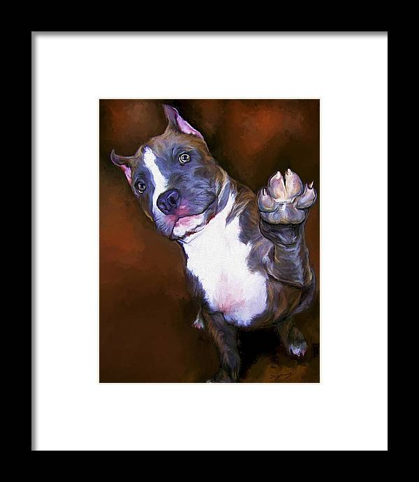 Pit Bull Framed Print featuring the painting High Four by David Wagner