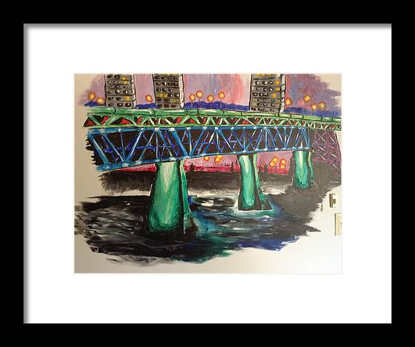 Bridge Framed Print featuring the mixed media High Level Bridge by Shelby Rawlusyk