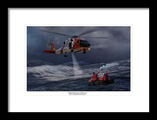 Aviation Framed Print featuring the painting High Magnitude Of Bravery by Mark Karvon