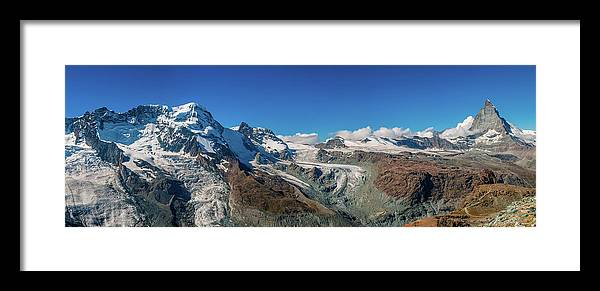 Pennine Alps Framed Print featuring the photograph High Mountains Of Pennine Alps In by Alpamayophoto