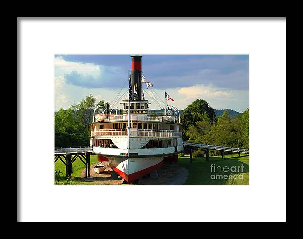 Ticonderoga Shelburne Museum Steamer Steamboat Dry Dock Framed Print featuring the photograph High N Dry by Richard Gibb