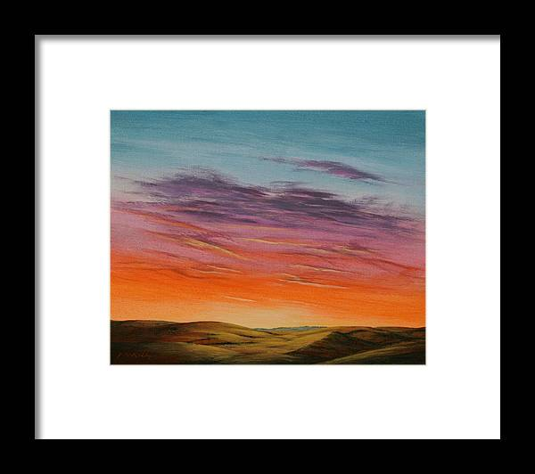 High Plains Framed Print featuring the painting High Plains Sunset by J W Kelly
