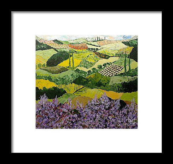 Landscape Framed Print featuring the painting High Ridge by Allan P Friedlander