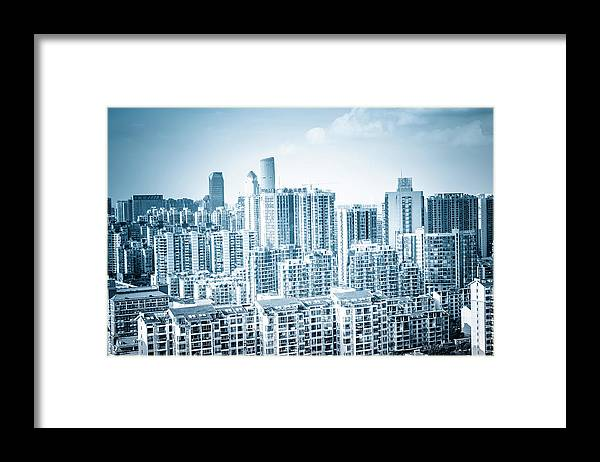 Residential District Framed Print featuring the photograph High Rise Residential Area by Aaaaimages