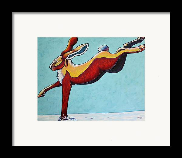 Wildlife Framed Print featuring the painting High Tailing It - Jackrabbit by Joe Triano
