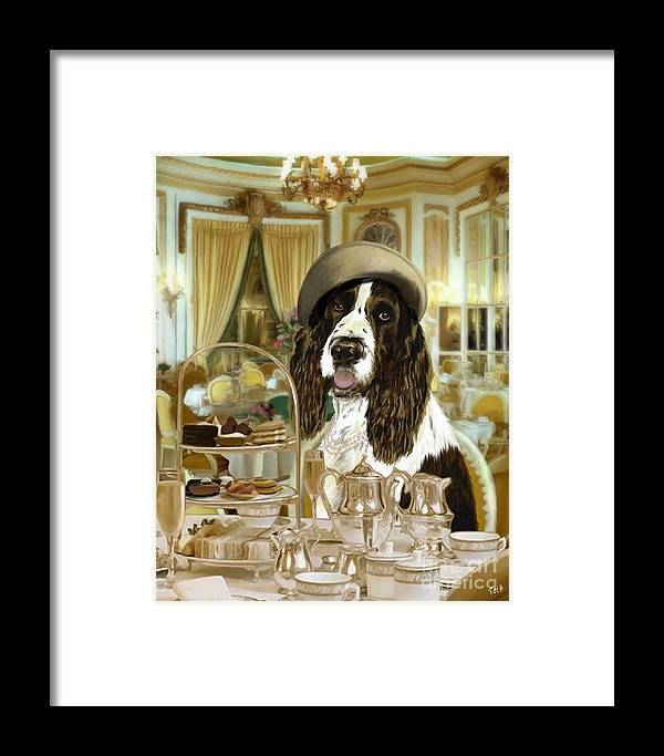 English Springer Spaniel Framed Print featuring the digital art High Tea At The Ritz by Laura Toth