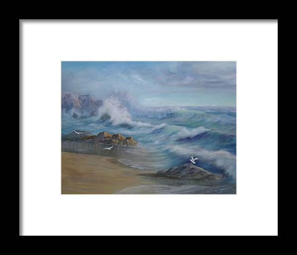 Seascape Framed Print featuring the painting High Tide by Rita Palm