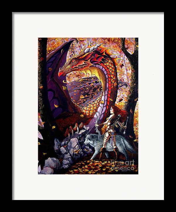 Dragon Framed Print featuring the painting Highland Huntress by Stanley Morrison