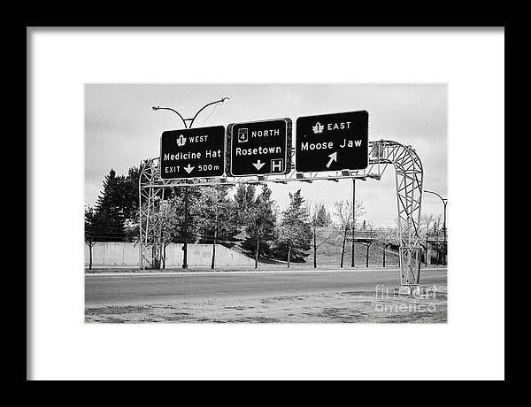 Swift Framed Print featuring the photograph highway 1 intersection directions swift current Saskatchewan Canada by Joe Fox