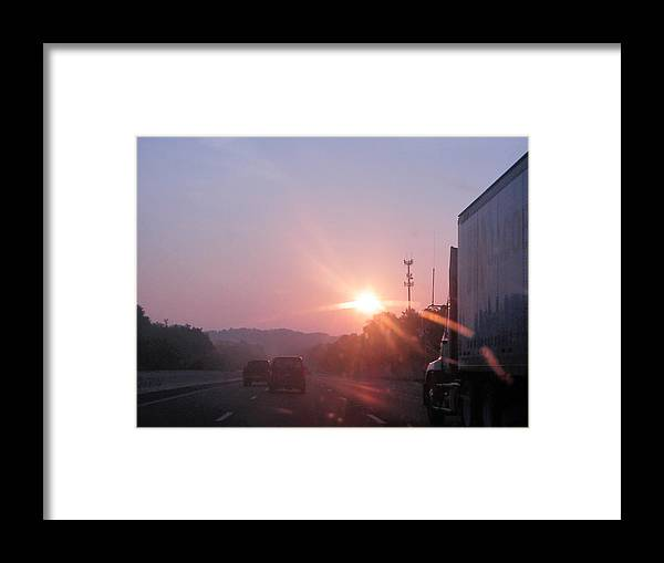 Framed Print featuring the photograph Highway Sunrise by Ashley Lamey