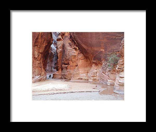 Tranquility Framed Print featuring the photograph Hikers Entering Buckskin Gulch From by Photograph By Michael Schwab