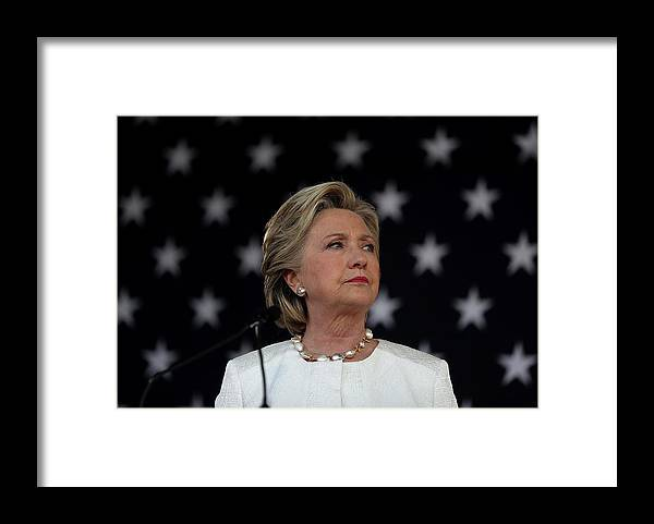 Nominee Framed Print featuring the photograph Hillary Clinton Campaigns Across by Justin Sullivan