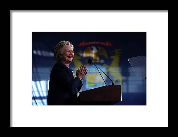Nominee Framed Print featuring the photograph Hillary Clinton Campaigns In Key Swing by Justin Sullivan