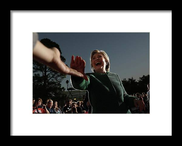 Nominee Framed Print featuring the photograph Hillary Clinton Campaigns In North by Justin Sullivan