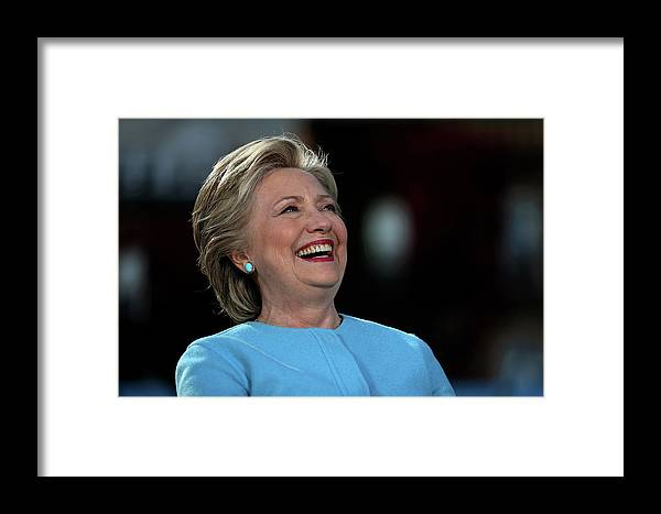 Nominee Framed Print featuring the photograph Hillary Clinton Is Joined By Maggie by Justin Sullivan