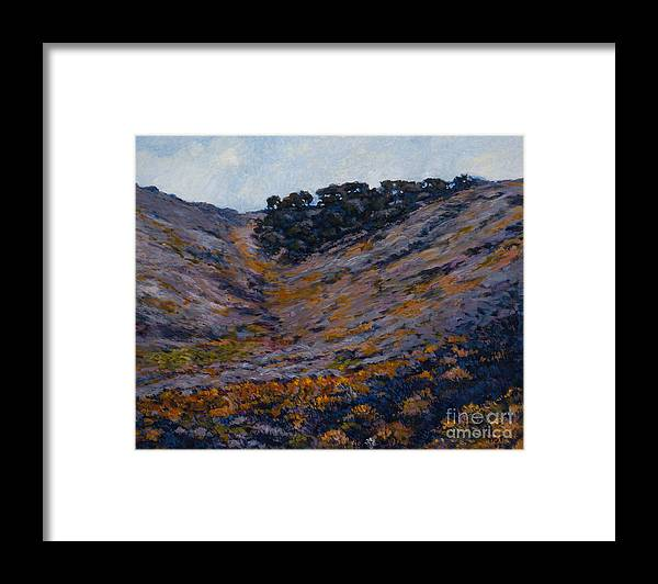 Landscape Framed Print featuring the painting Hillside Sage by Betsee Talavera