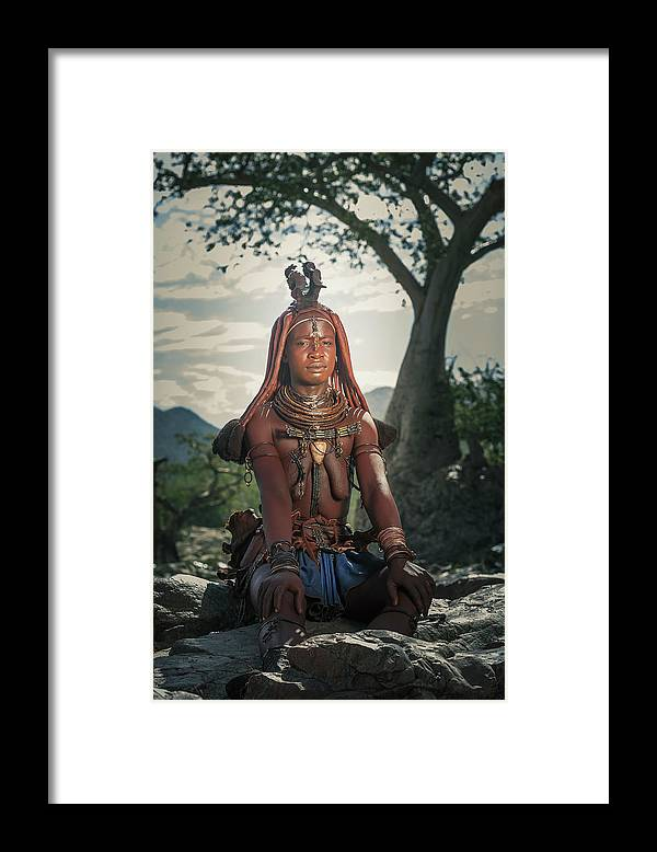 People Framed Print featuring the photograph Himba Woman With Traditional Hair Dress by Buena Vista Images