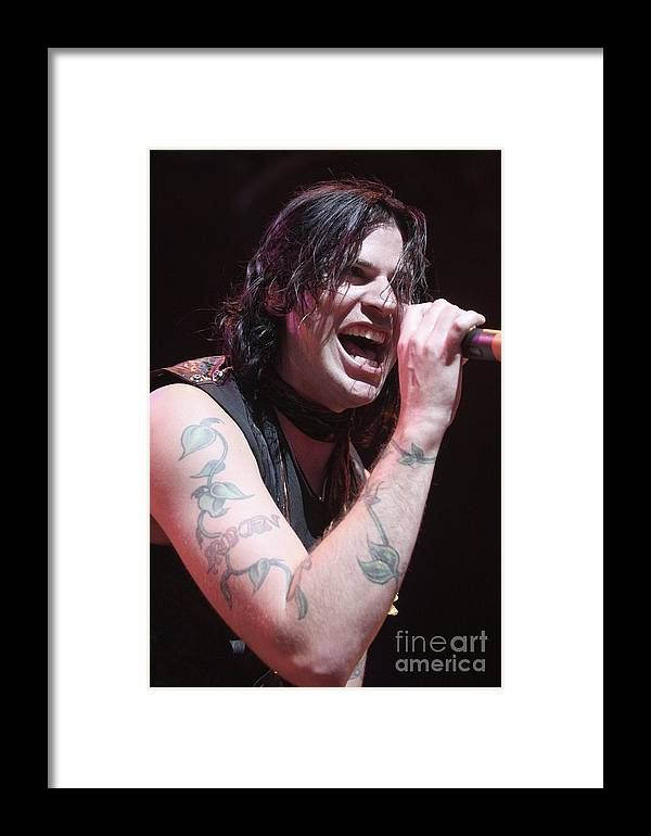 Singer Framed Print featuring the photograph Hinder by Concert Photos