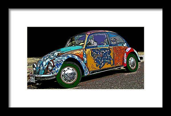 Hippie Vw Bug Framed Print featuring the photograph Hippie Vw Bug by Samuel Sheats