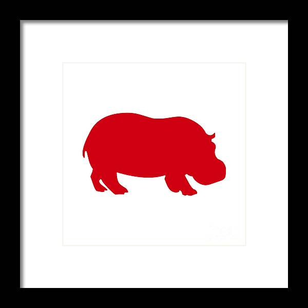Graphic Art Framed Print featuring the digital art Hippo In Red And White by Jackie Farnsworth