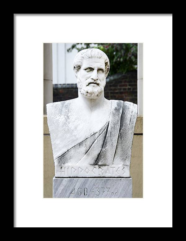 Hippocrates Framed Print featuring the photograph Hippocrates Statue - Vcu Campus by Brendan Reals