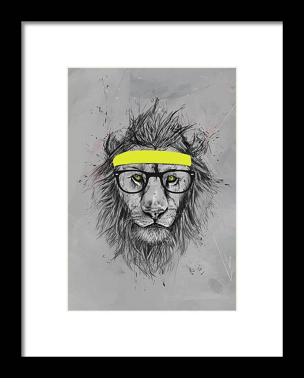 Lion Framed Print featuring the drawing Hipster lion by Balazs Solti