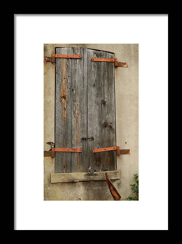 Window Framed Print featuring the photograph Historic Window Shutters by Terry Cobb