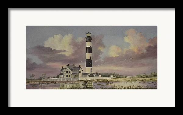 Lighthouse Framed Print featuring the painting History Of Morris Lighthouse by Wanda Dansereau