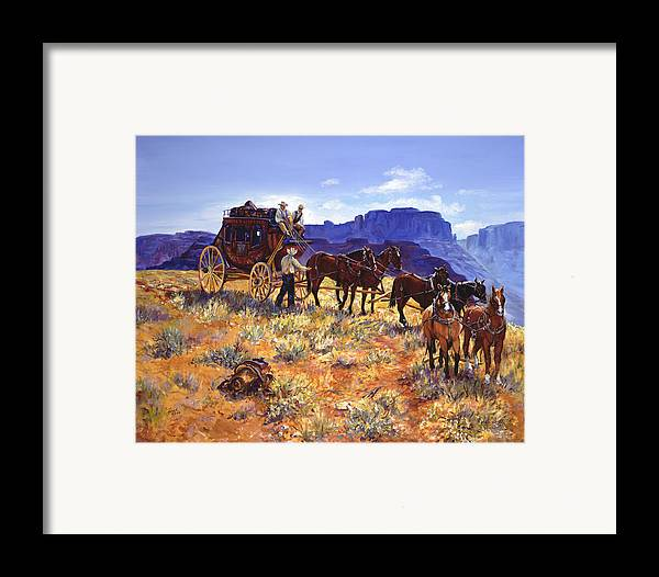Stagecoach Framed Print featuring the painting Hitchin by Page Holland