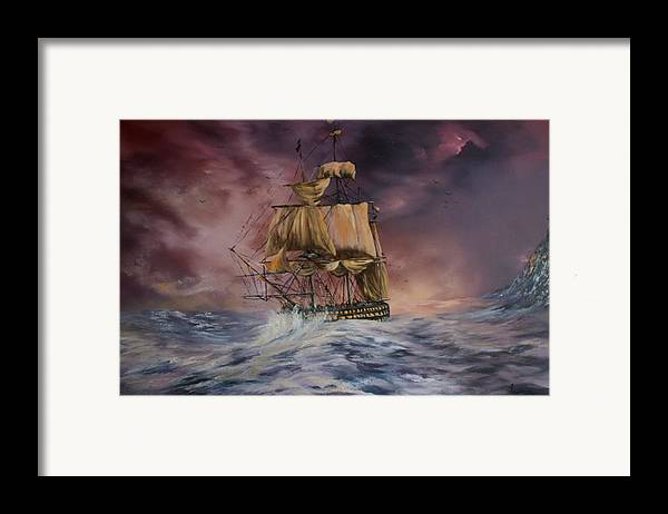 H.m.s Victory Framed Print featuring the painting H.m.s Victory by Jean Walker