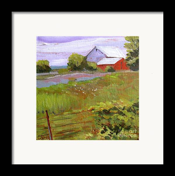 Landscape Framed Print featuring the painting Hobbs Farm by Charlie Spear