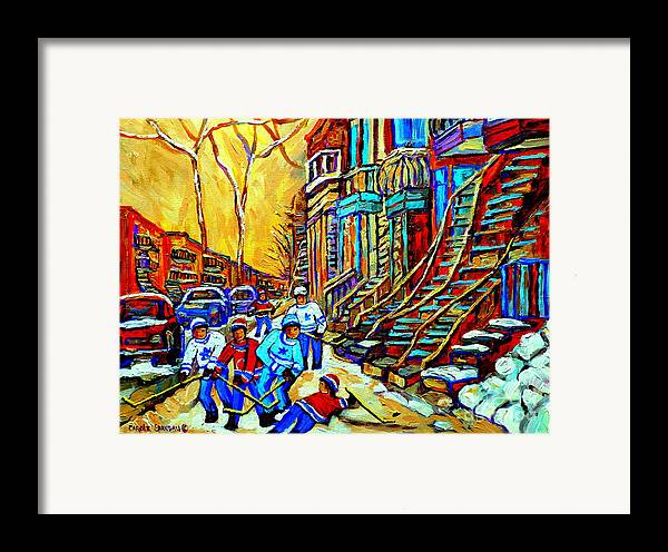 Montreal Framed Print featuring the painting Hockey Art Montreal Winter Scene Winding Staircases Kids Playing Street Hockey Painting by Carole Spandau