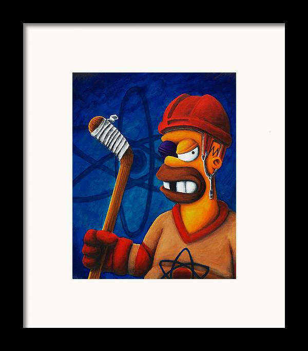 Simpsons Framed Print featuring the painting Hockey Homer by Marlon Huynh