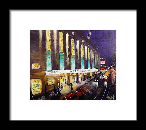 Hockey Framed Print featuring the painting Hockey Night- Maple Leaf Gardens by Brent Arlitt