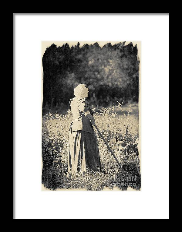 Black And White Photogrpah. Brush Border Framed Print featuring the photograph Hoeing A Field by Jan Tyler