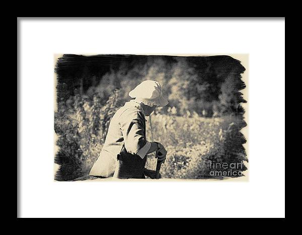Black And White Photograph Framed Print featuring the photograph Hoeing The Graden by Jan Tyler