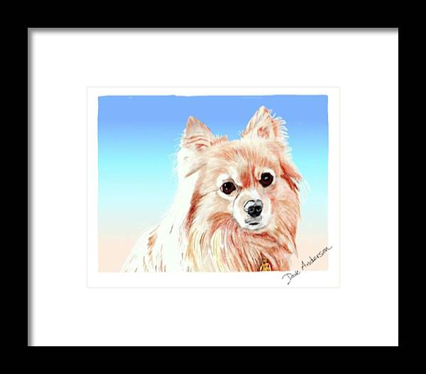 Dog Framed Print featuring the drawing Hoku - A Former Shelter Sweetie by Dave Anderson
