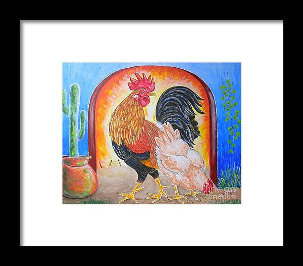Roosters Framed Print featuring the painting Hola Senorita by George I Perez