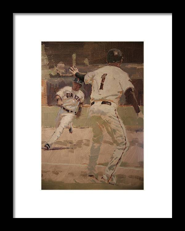 Tim Flannery Framed Print featuring the painting Hold At Third by Darren Kerr