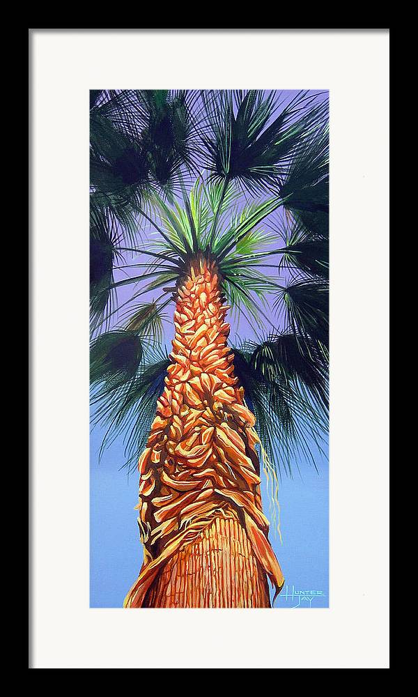 Palm Tree In Palm Springs California Framed Print featuring the painting Holding Onto The Earth by Hunter Jay
