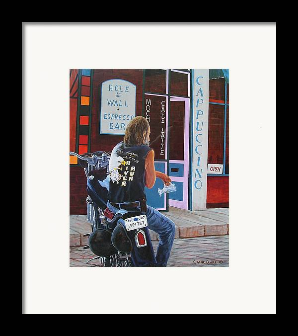 Motorcycle Framed Print featuring the painting Hole In The Wall by Chris MacClure