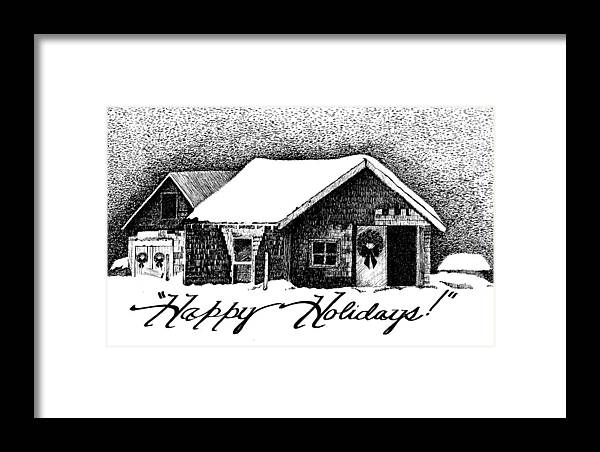 Holiday Barn Framed Print featuring the drawing Holiday Barn by Joy Bradley