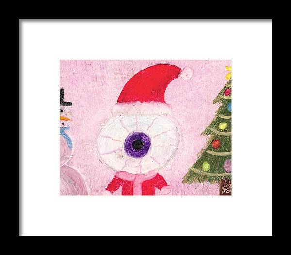 Christmas Framed Print featuring the pastel Holiday Eye by Jessica Foster
