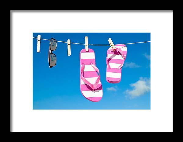 Washing Framed Print featuring the photograph Holiday Washing Line by Amanda Elwell